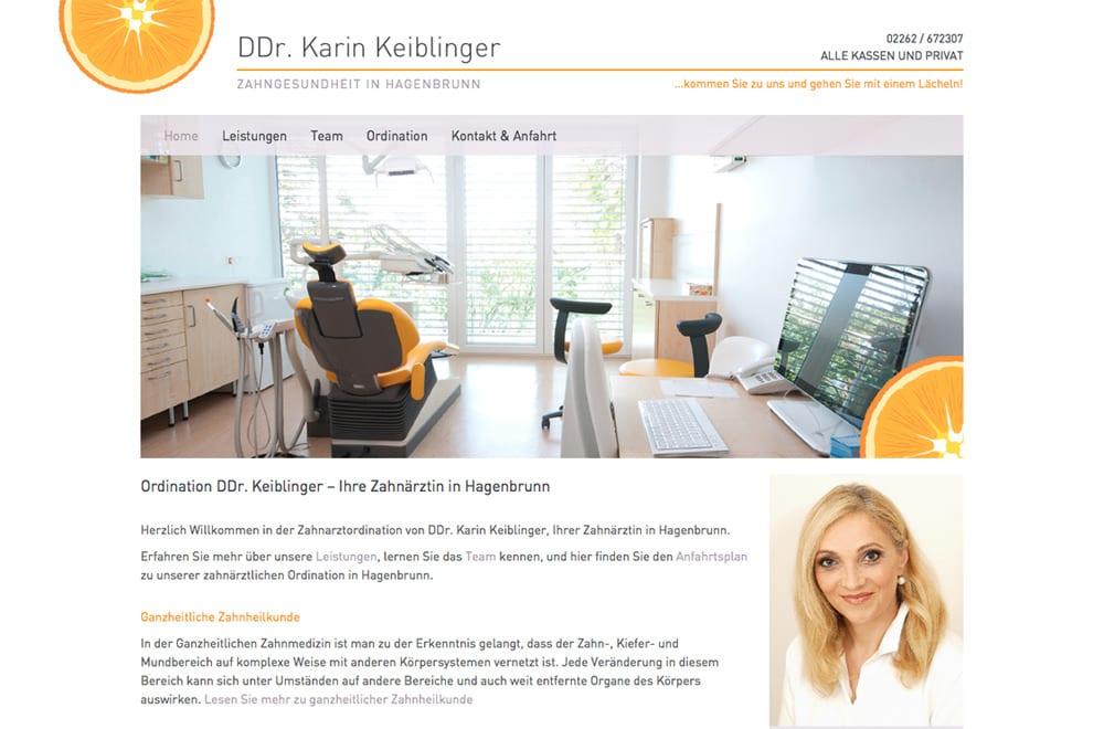 Webdesign Beispiel: Responsive Webdesign, WordPress für Zahnarzt in Hagenbrunn